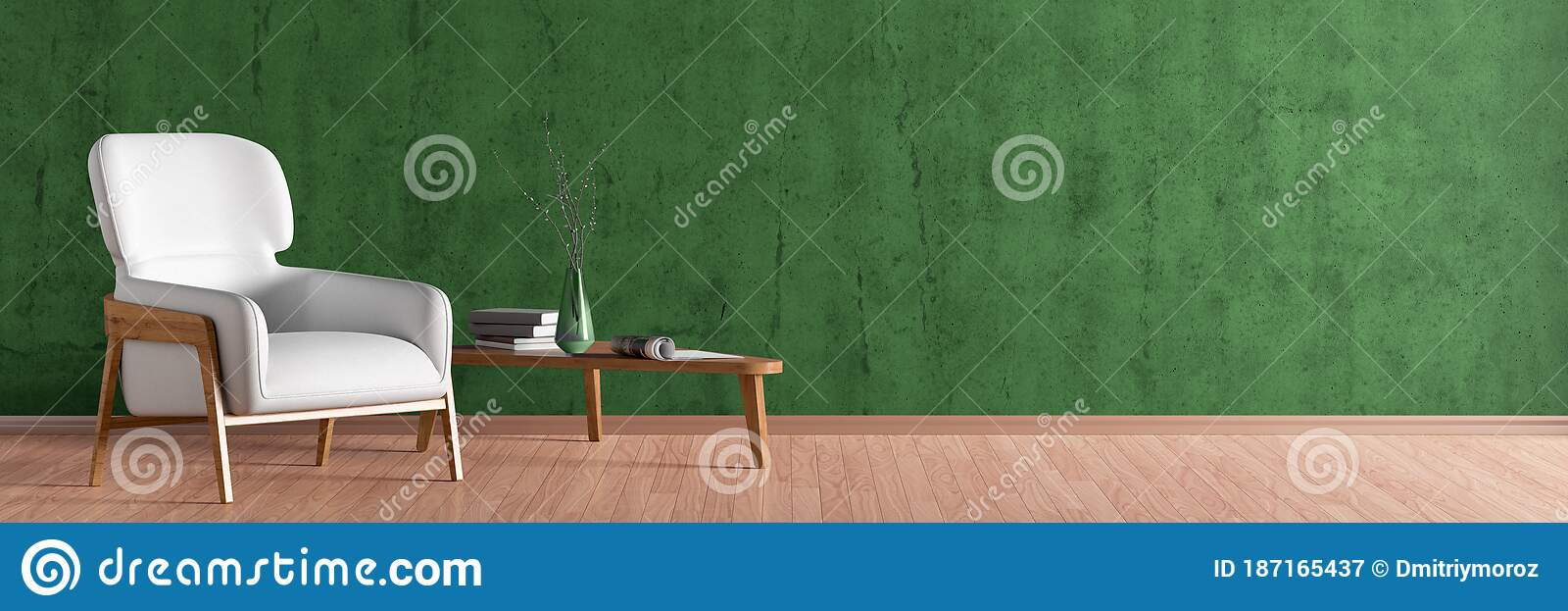 interior of living room with white leather armchair and wooden triangular coffee table stock illustration illustration of contemporary decor 187165437