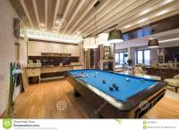 Interior Of A Luxury Living Room With Pool Table Stock