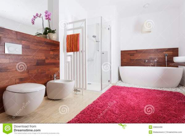 Bathroom Interior With Exotic Wood Stock - Of