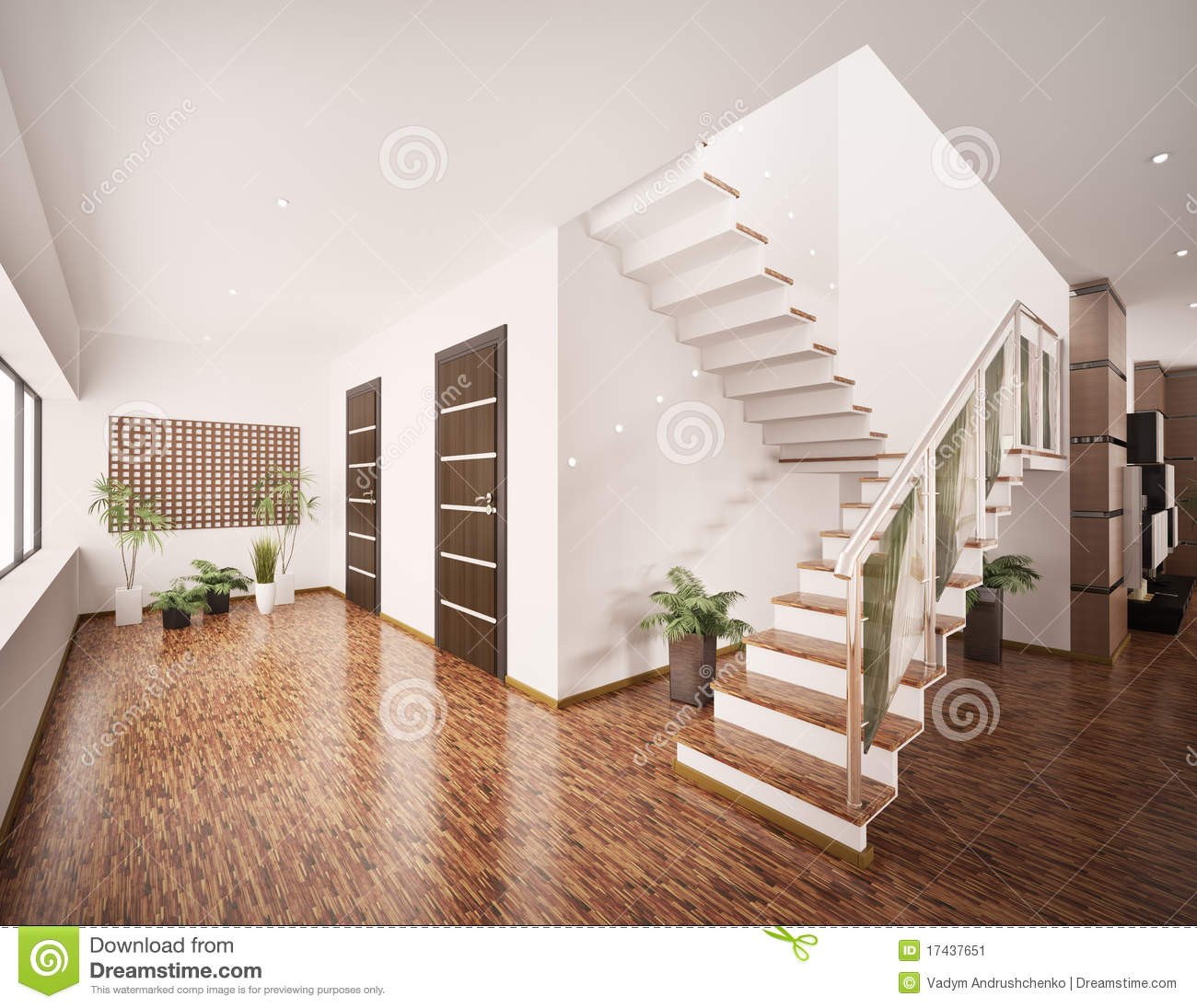 Interior Of Modern Entrance Hall 3d Render Stock Image