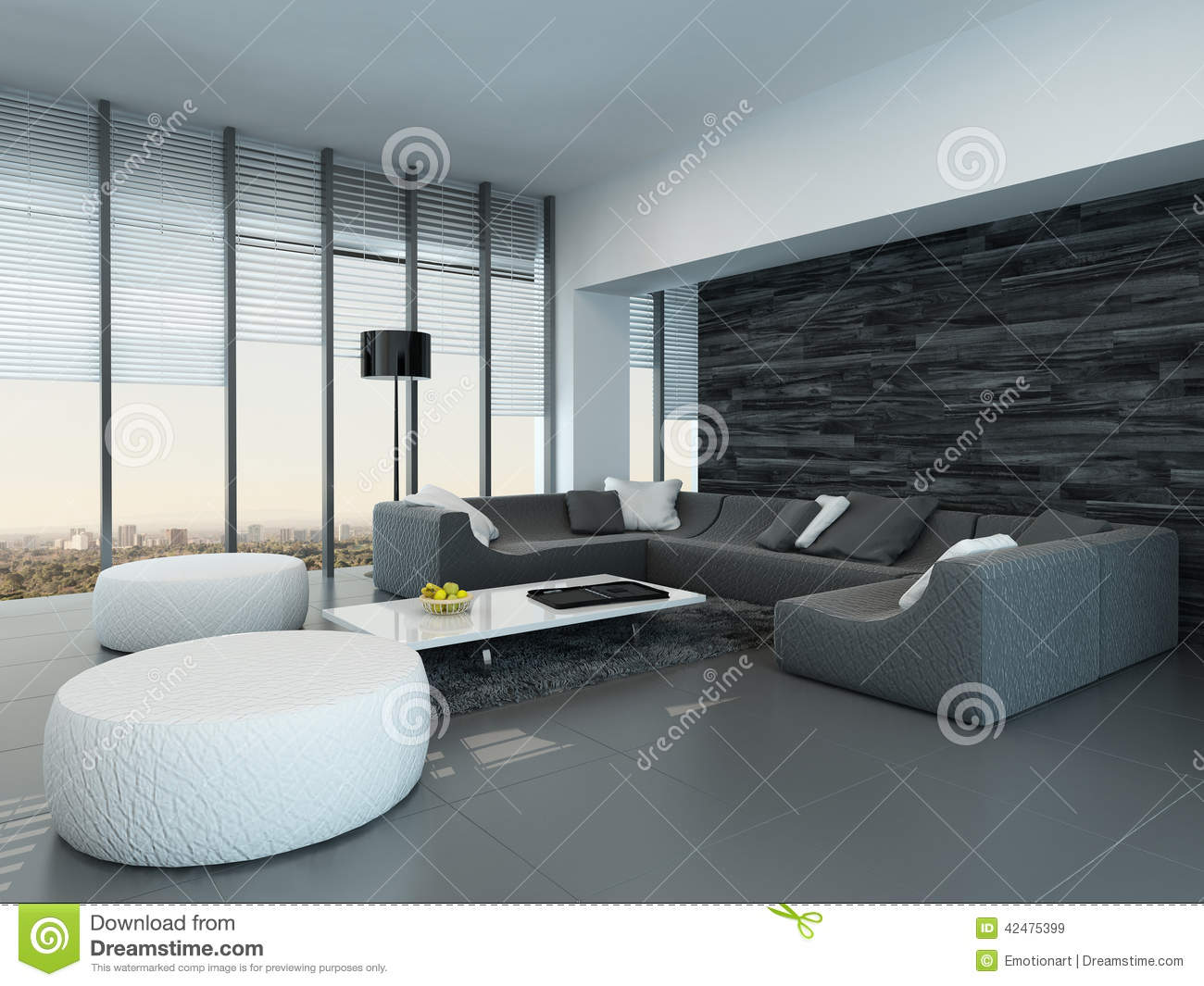 Interior Of A Modern Grey And White Living Room Stock