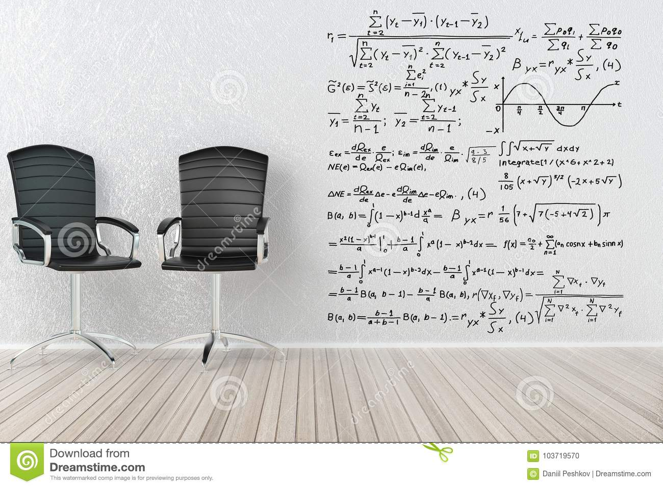 office chair diagram orange swivel interior with chairs and formulas stock illustration