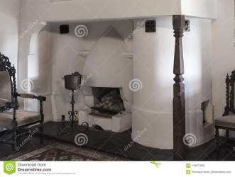Interior Of An Old Medieval House With Peculiar Fireplace And B Stock Image Image of court bare: 119277593