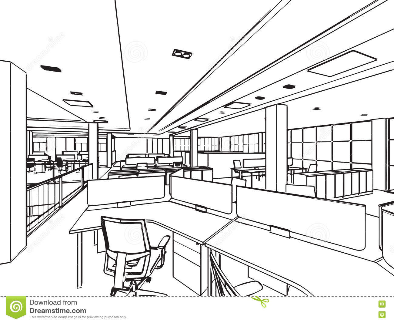 Interior Outline Sketch Drawing Perspective Of A Space
