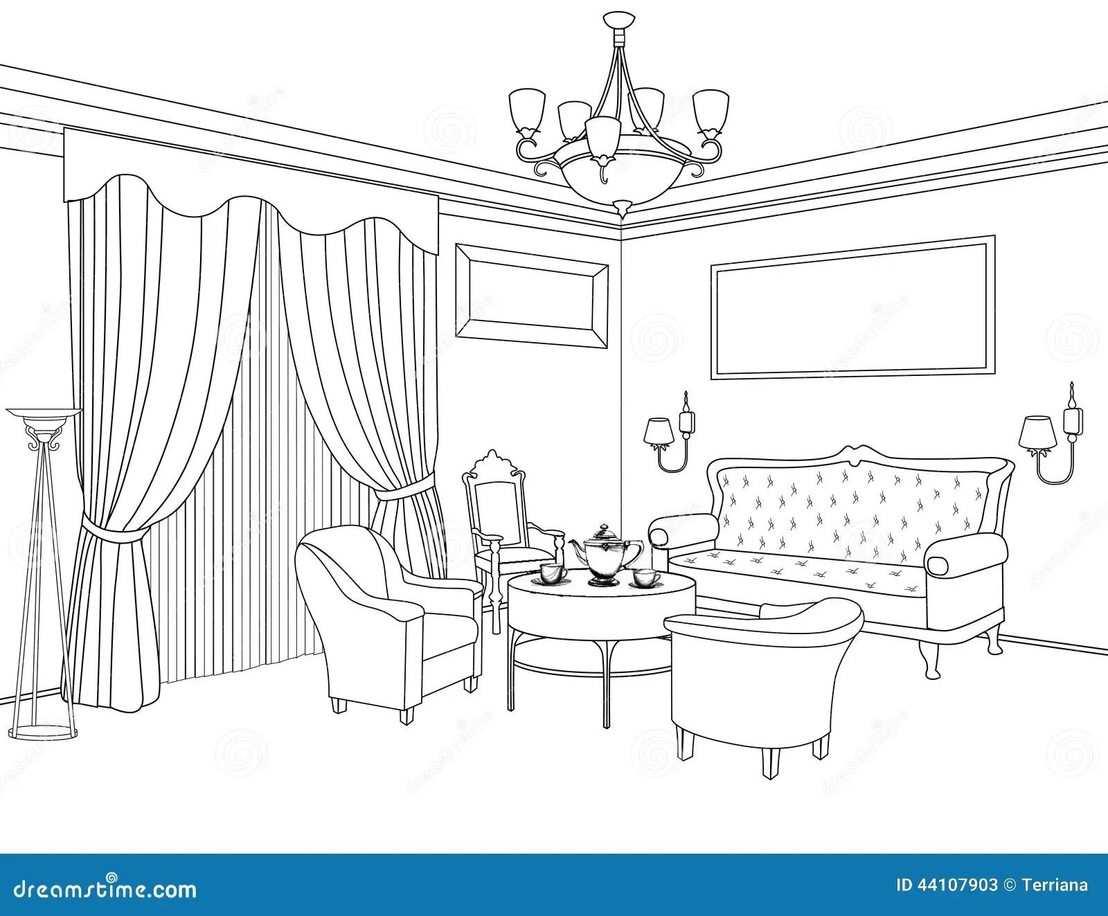 Interior Outline Sketch Furniture Architectural Design