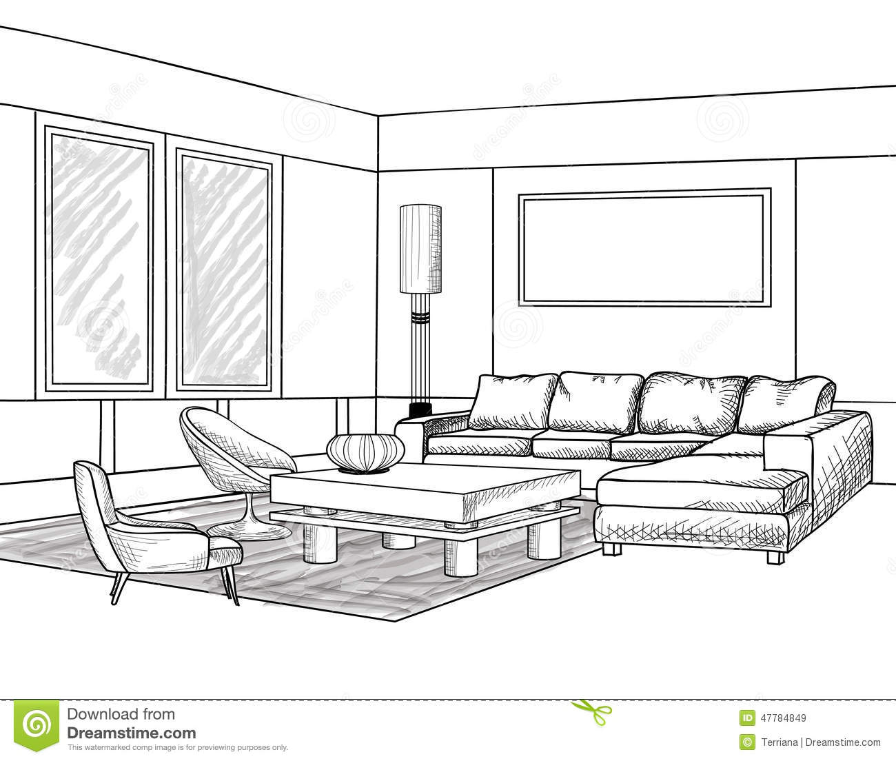 Interior Outline Sketch. Furniture Blueprint Stock