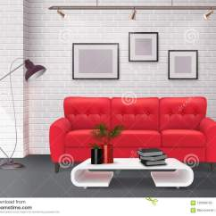 Simple Clean Living Room Design Italian Furniture Toronto Interior Realistic Image Stock Vector Illustration Of Contemporary Detail With Stunning Leather Red Sofa Accent