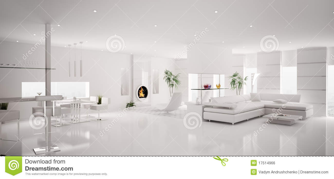 contemporary white leather living room chairs pop ceiling designs for small interior of apartment panorama 3d royalty free stock ...