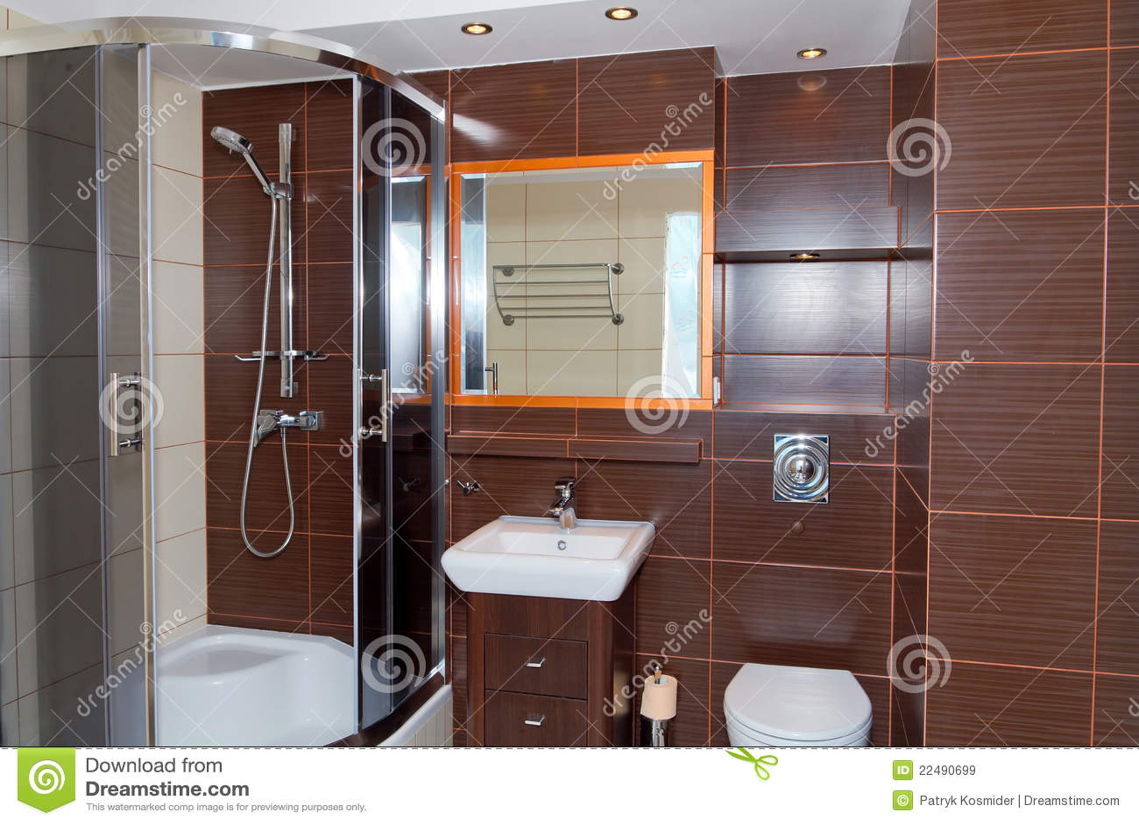 Interiore Della Stanza Da Bagno Di Colore Marrone Scuro Immagine Stock  Immagine di moderno