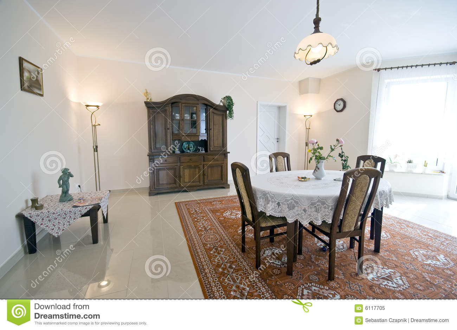Interiore Domestico Della Sala Da Pranzo Immagine Stock  Immagine di wooden luce 6117705