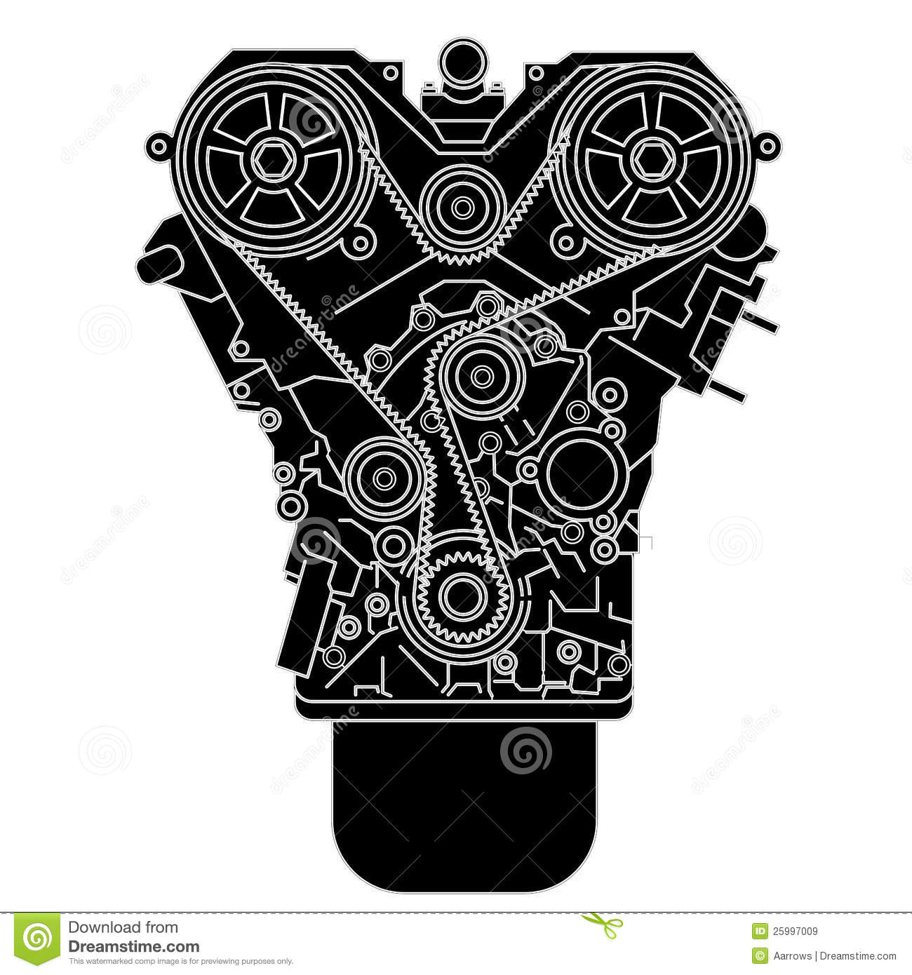 hight resolution of internal combustion engine as seen from in front