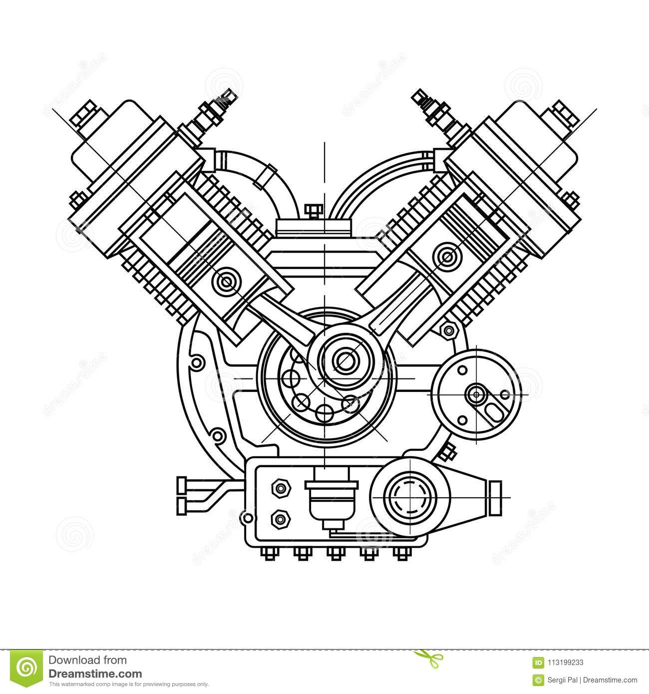An Internal Combustion Motor. The Drawing Engine Of The