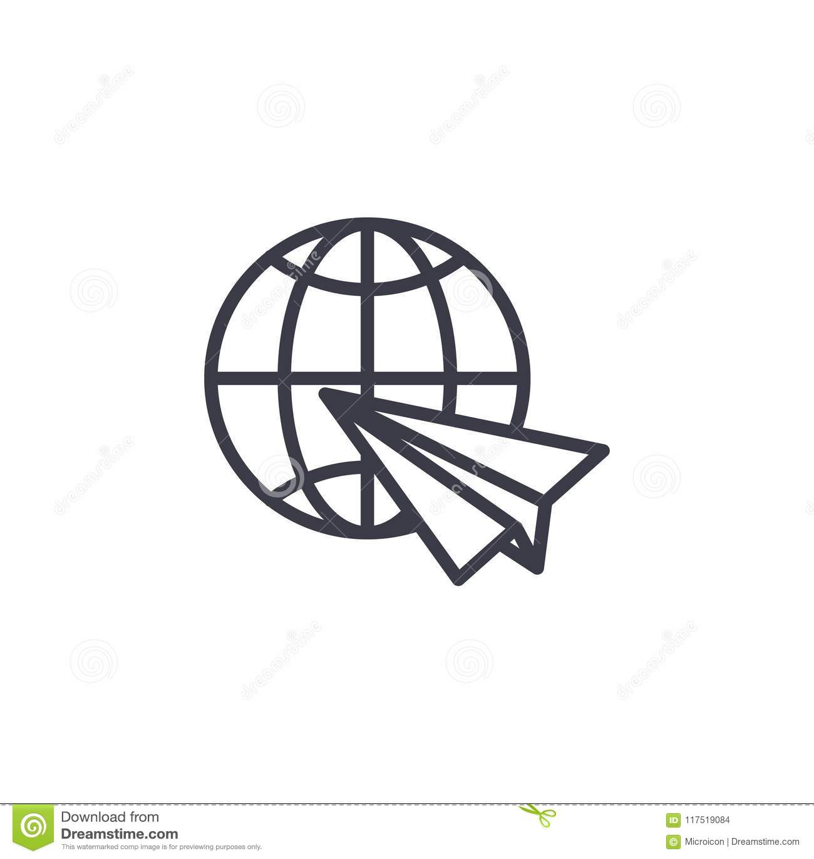 International Airmail Linear Icon Concept International