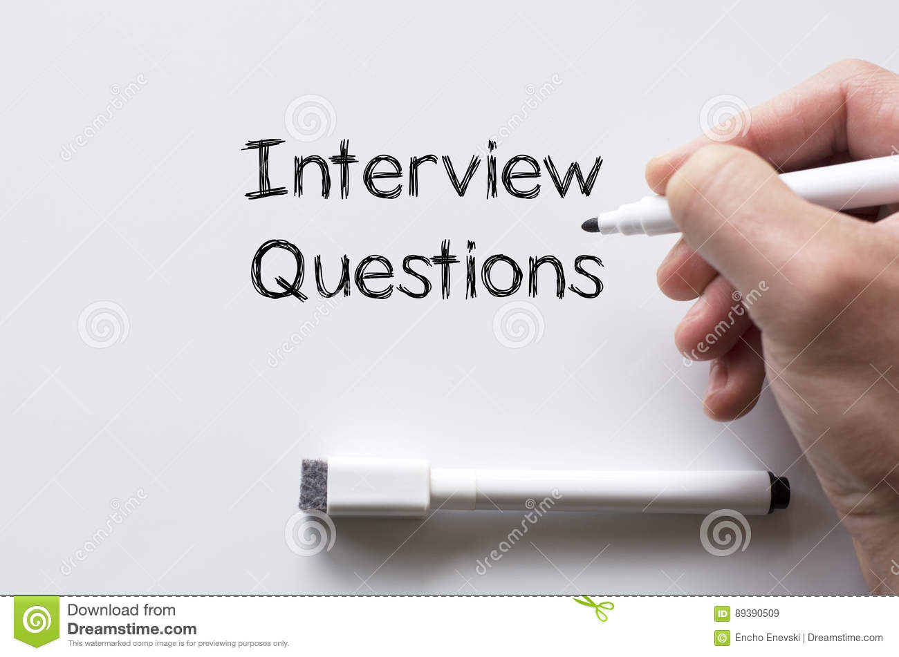Interview Questions Written On Whiteboard Stock Image