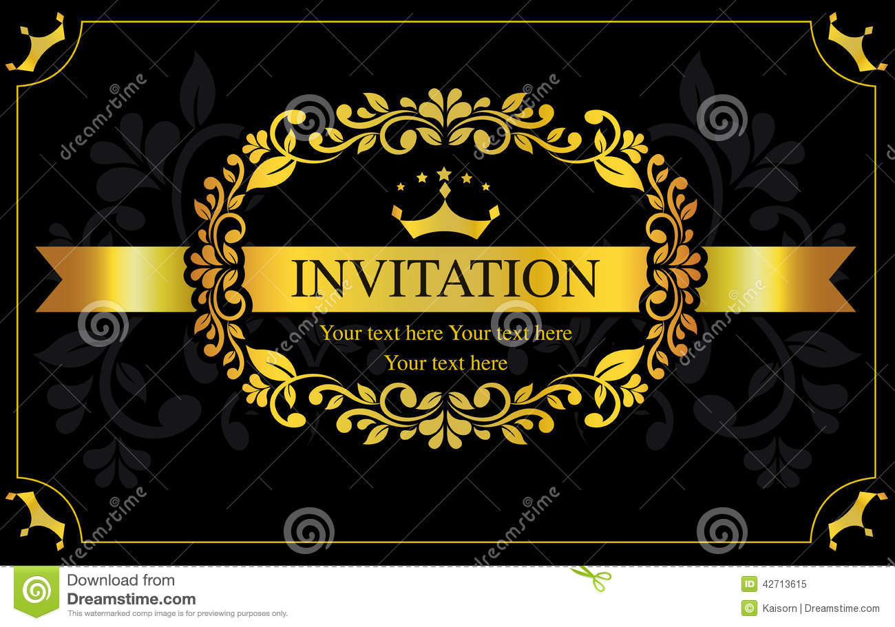 Invitation Card Black And Gold Style Stock Vector