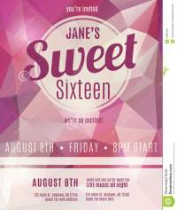 Invitation Flyer For Sweet Sixteen Party Stock Vector ...