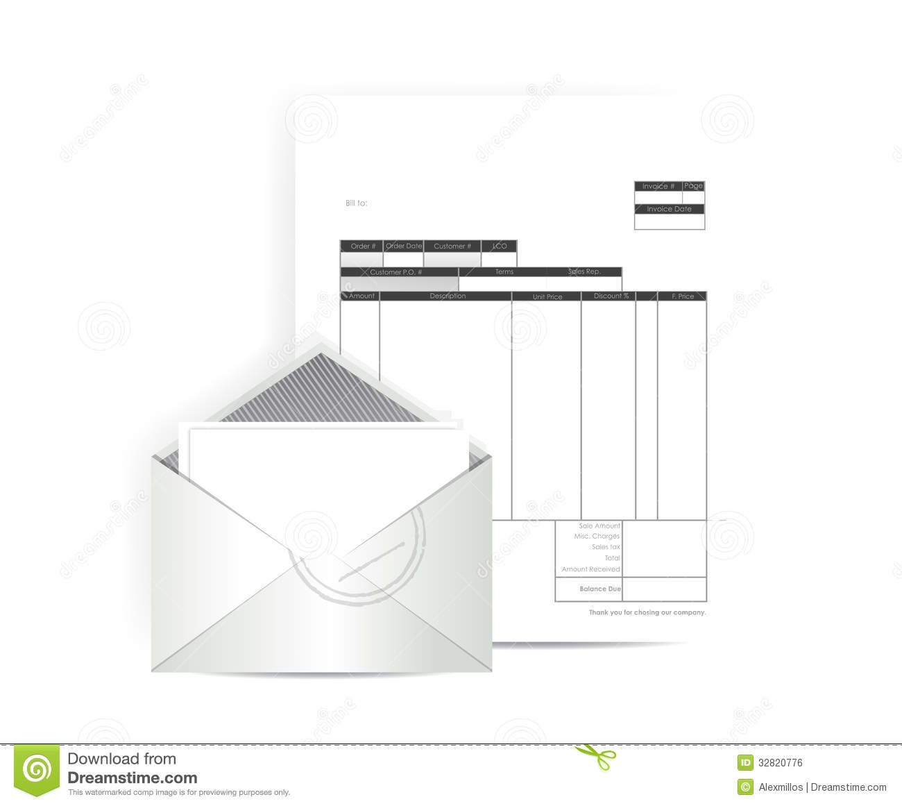 Invoice Receipt Mail Illustration Design Royalty Free