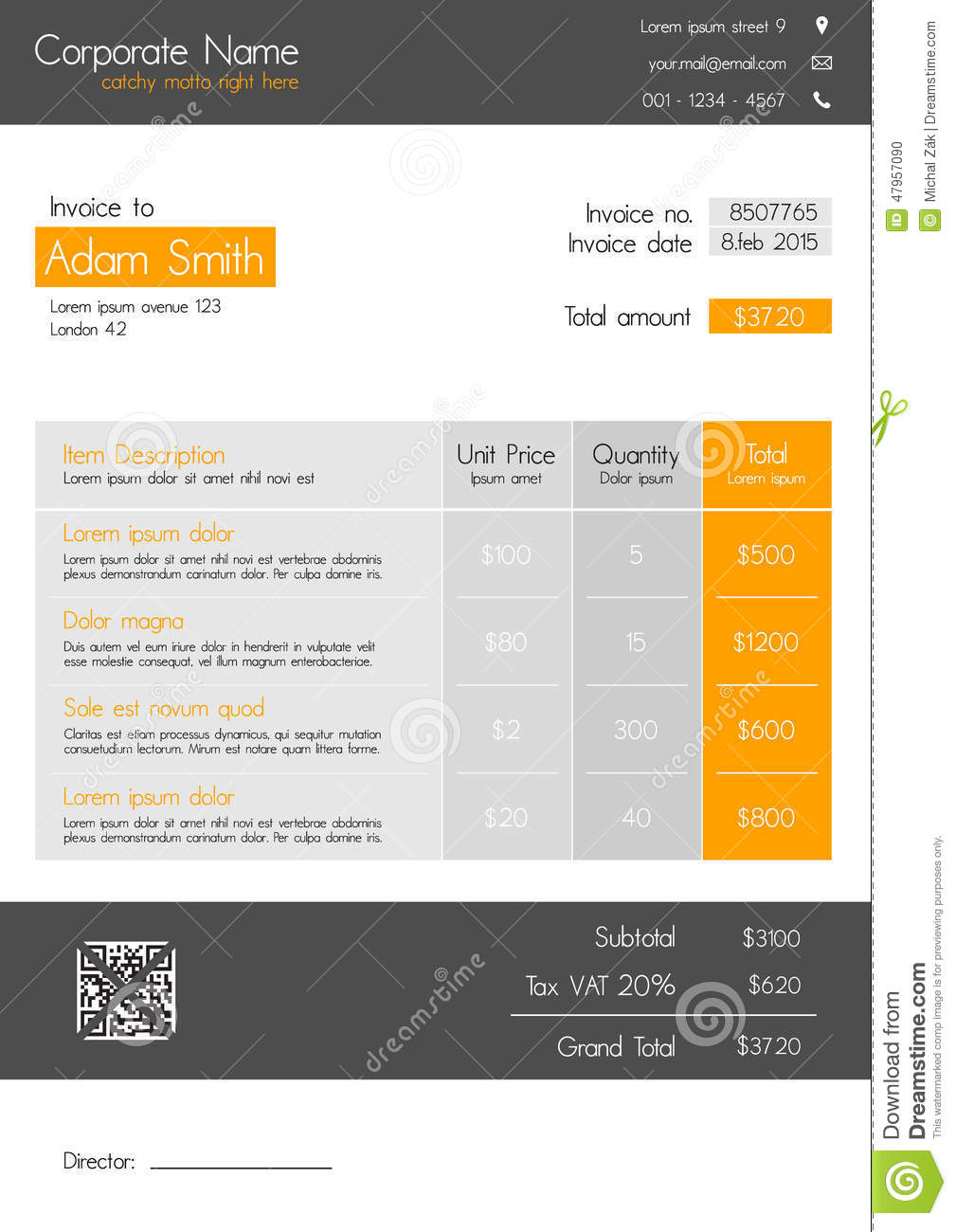 Invoice Template Clean Modern Style Of Orange And Grey