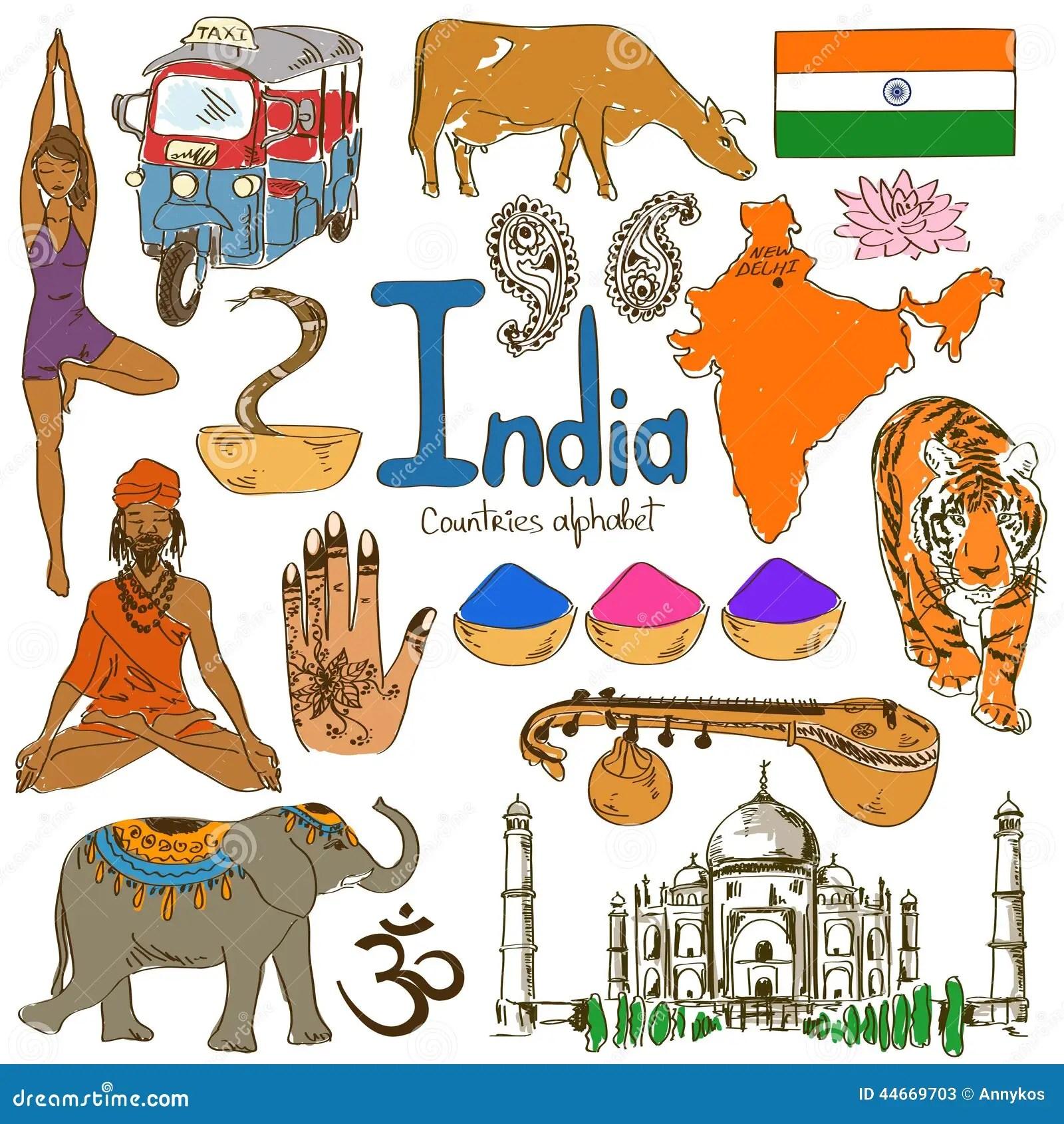 Inzameling Van De Pictogrammen Van India Vector