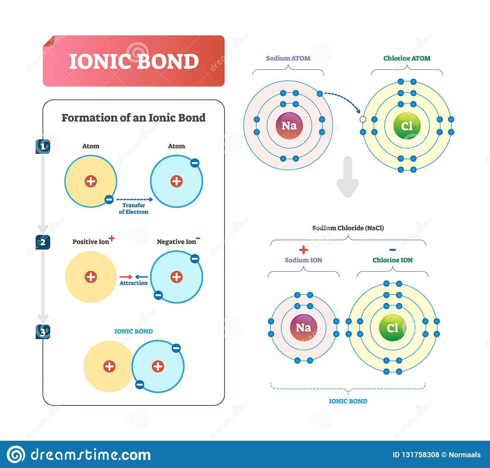 Ionic Bond Vector Illustration Labeled Diagram With