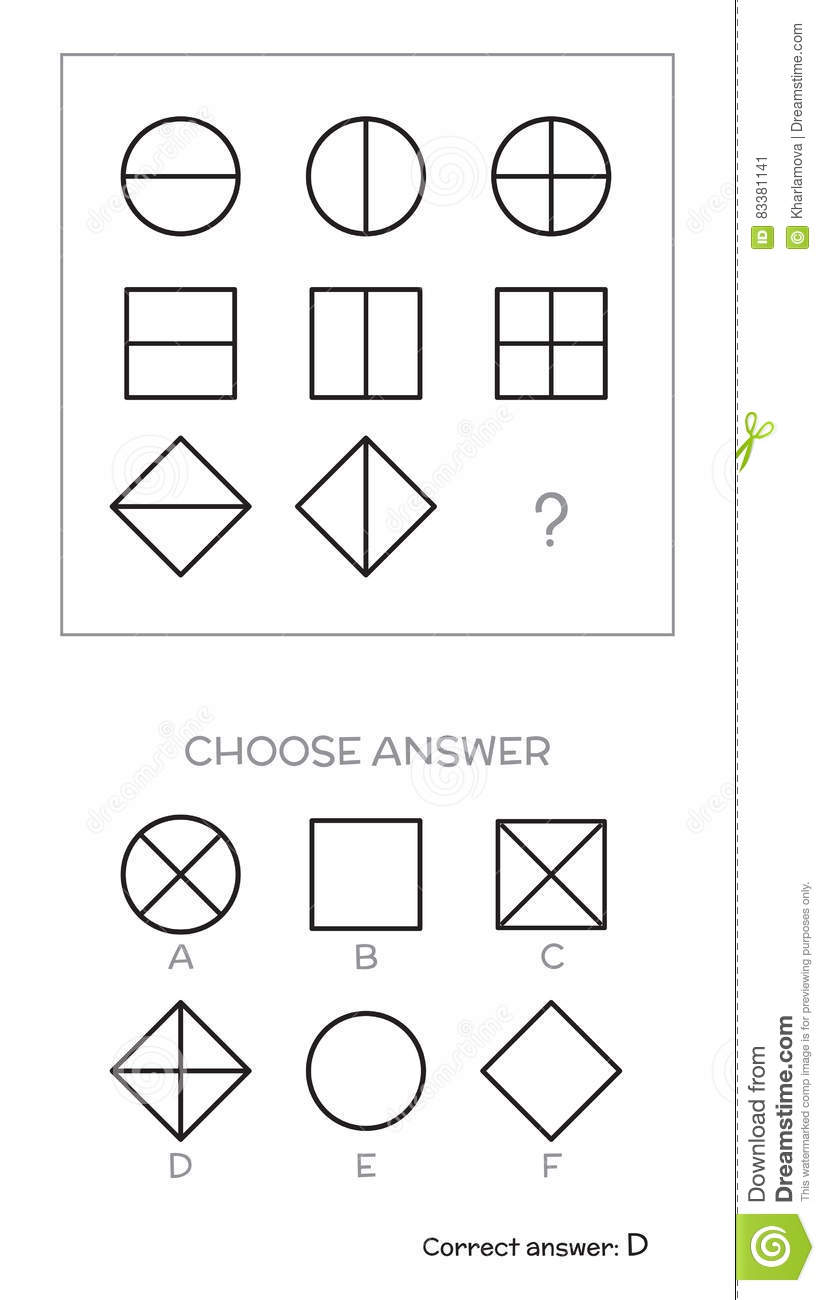 IQ test. Choose answer stock vector. Illustration of exam