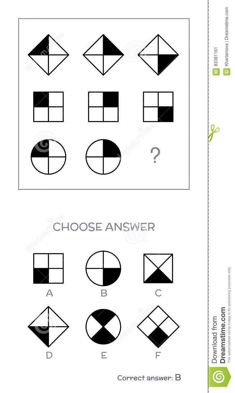 IQ Test. Choose Correct Answer Vector Illustration