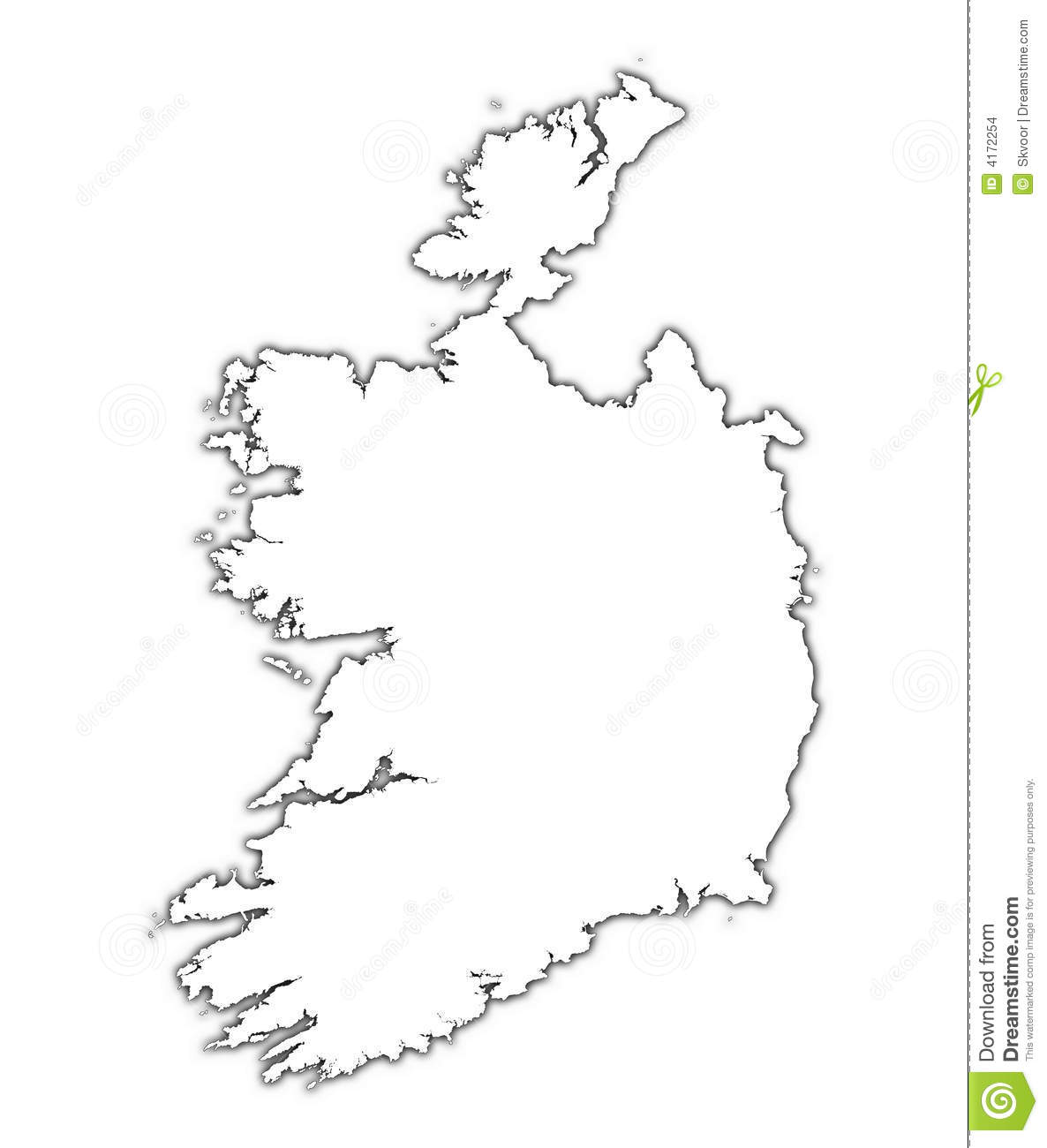 Ireland Outline Map With Shadow Stock Illustration