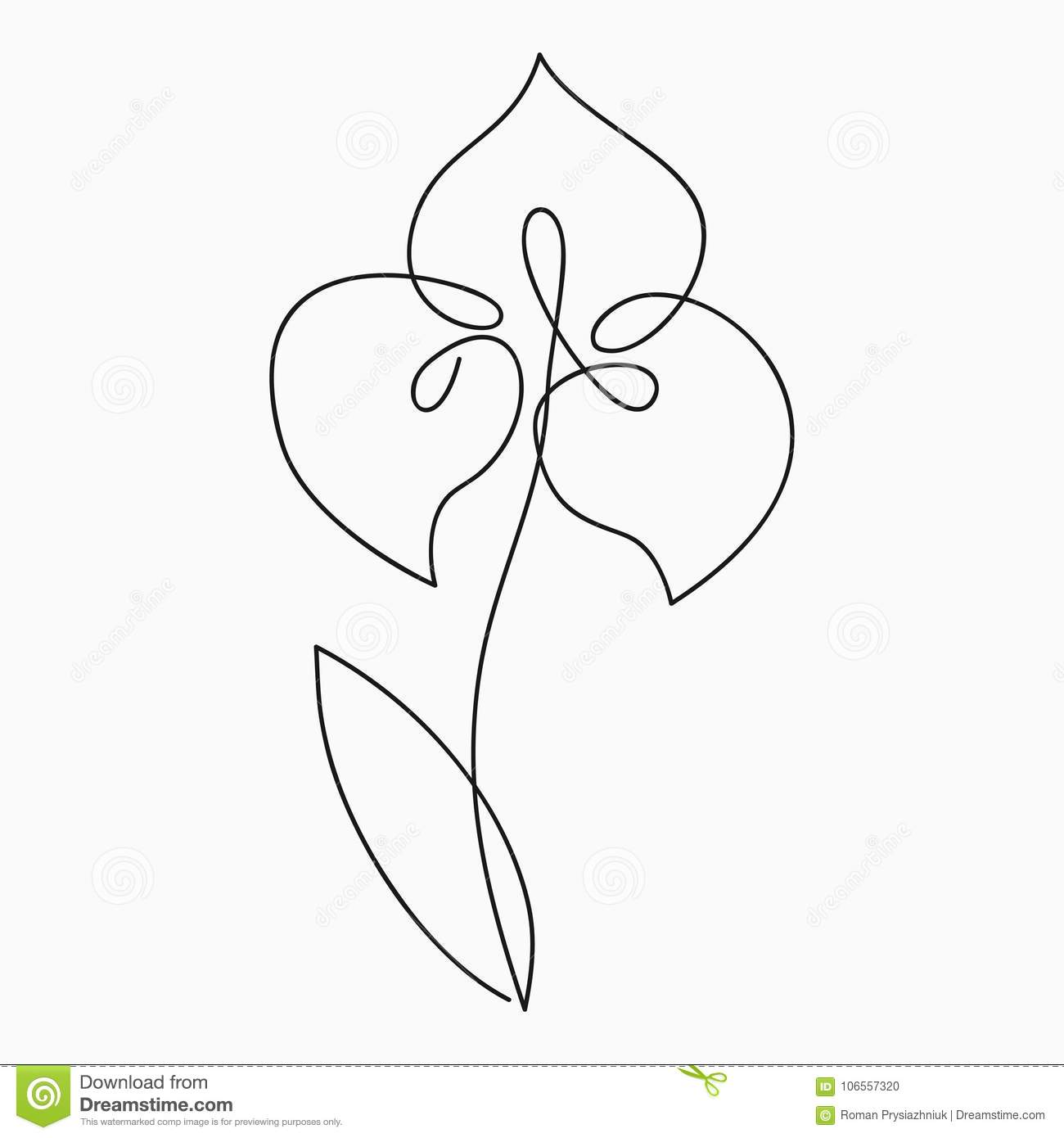 Iris One Line Drawing. Continuous Line Flower. Hand-drawn