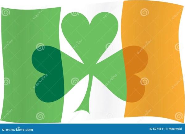 Irish Flag With Shamrock Royalty-free Stock