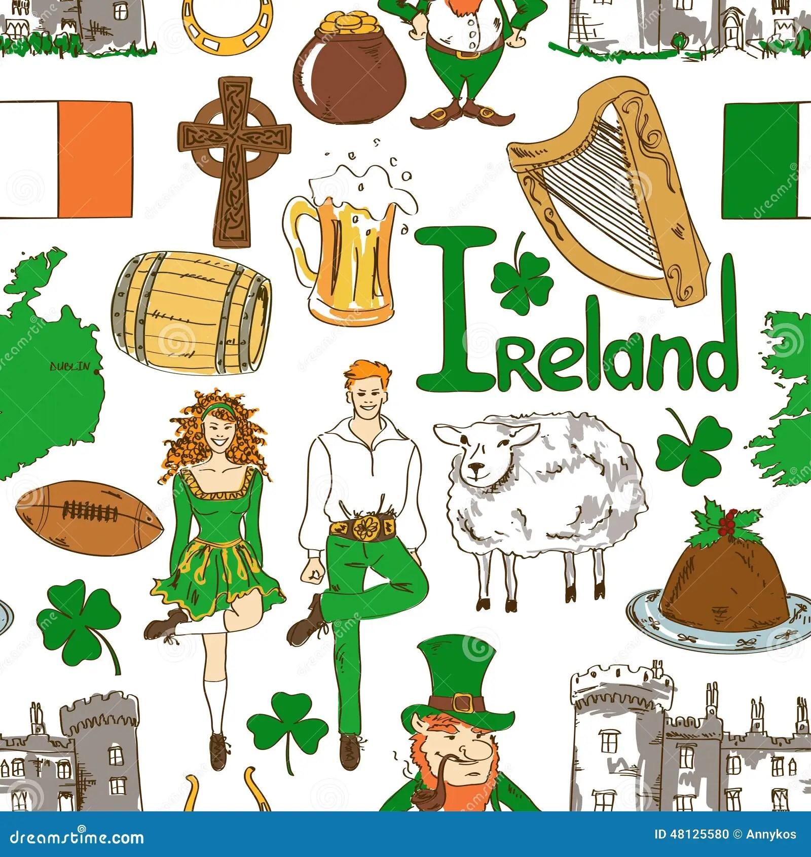 Irish Symbols Seamless Pattern Stock Vector