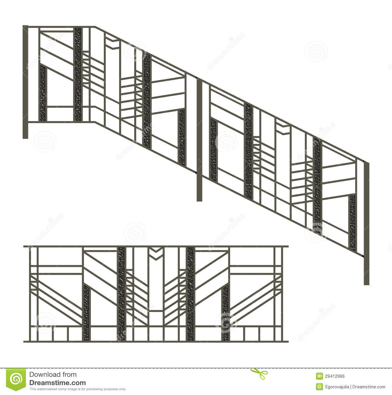 Iron Fences And Stairs Railing Stock Photo