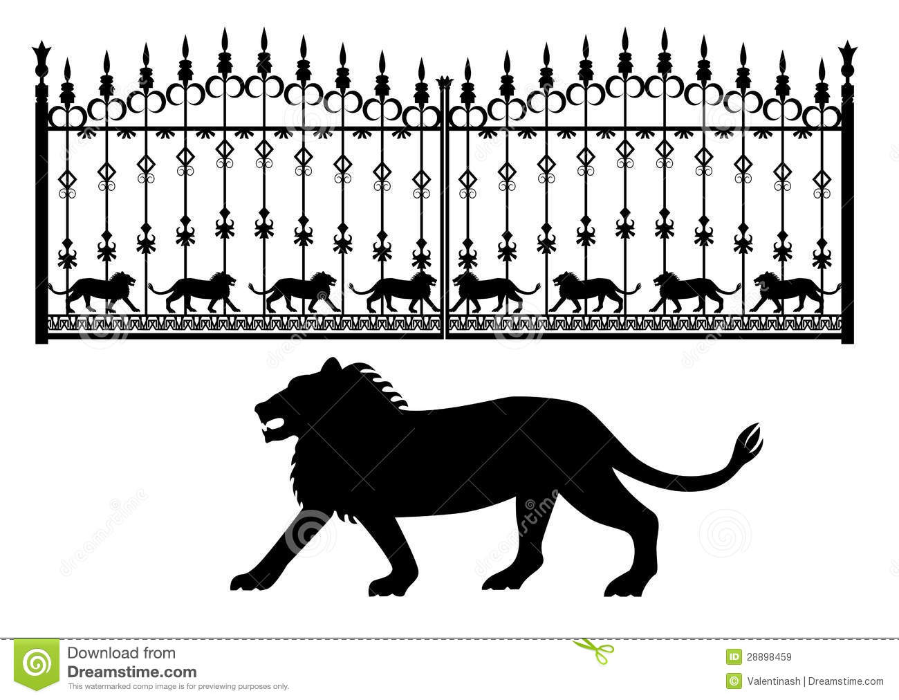 Iron gates with lions stock vector. Image of predator