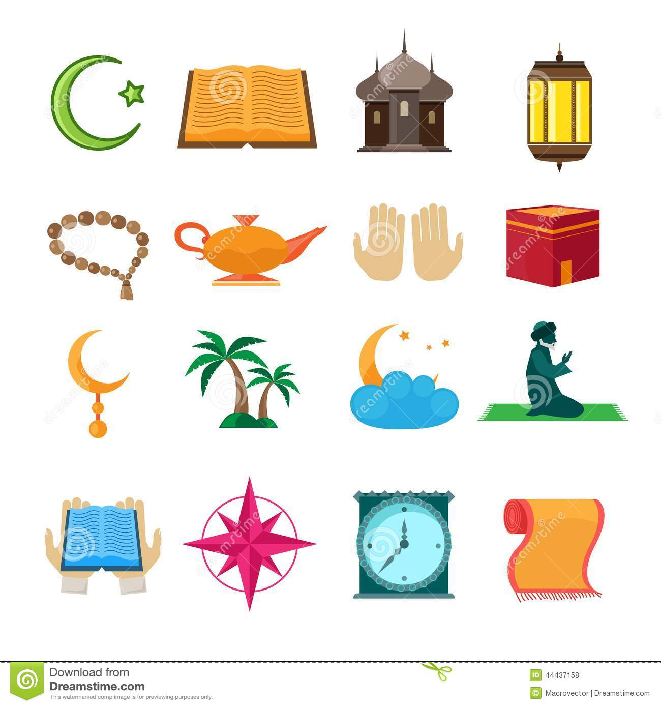 Islam Icons Set Stock Vector Illustration Of Dangler