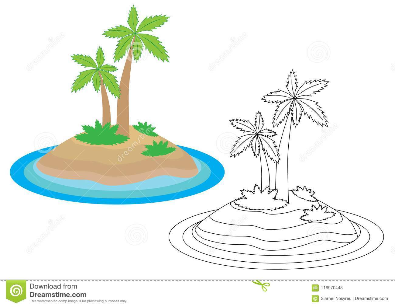 Island Cartoon Coloring Book Leisure Activity For