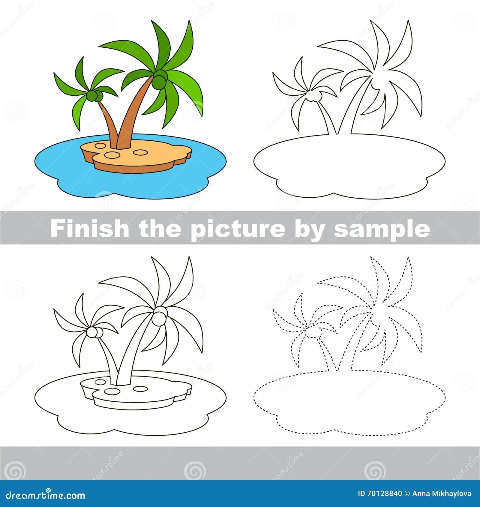 Island Drawing Worksheet Stock Vector Illustration Of