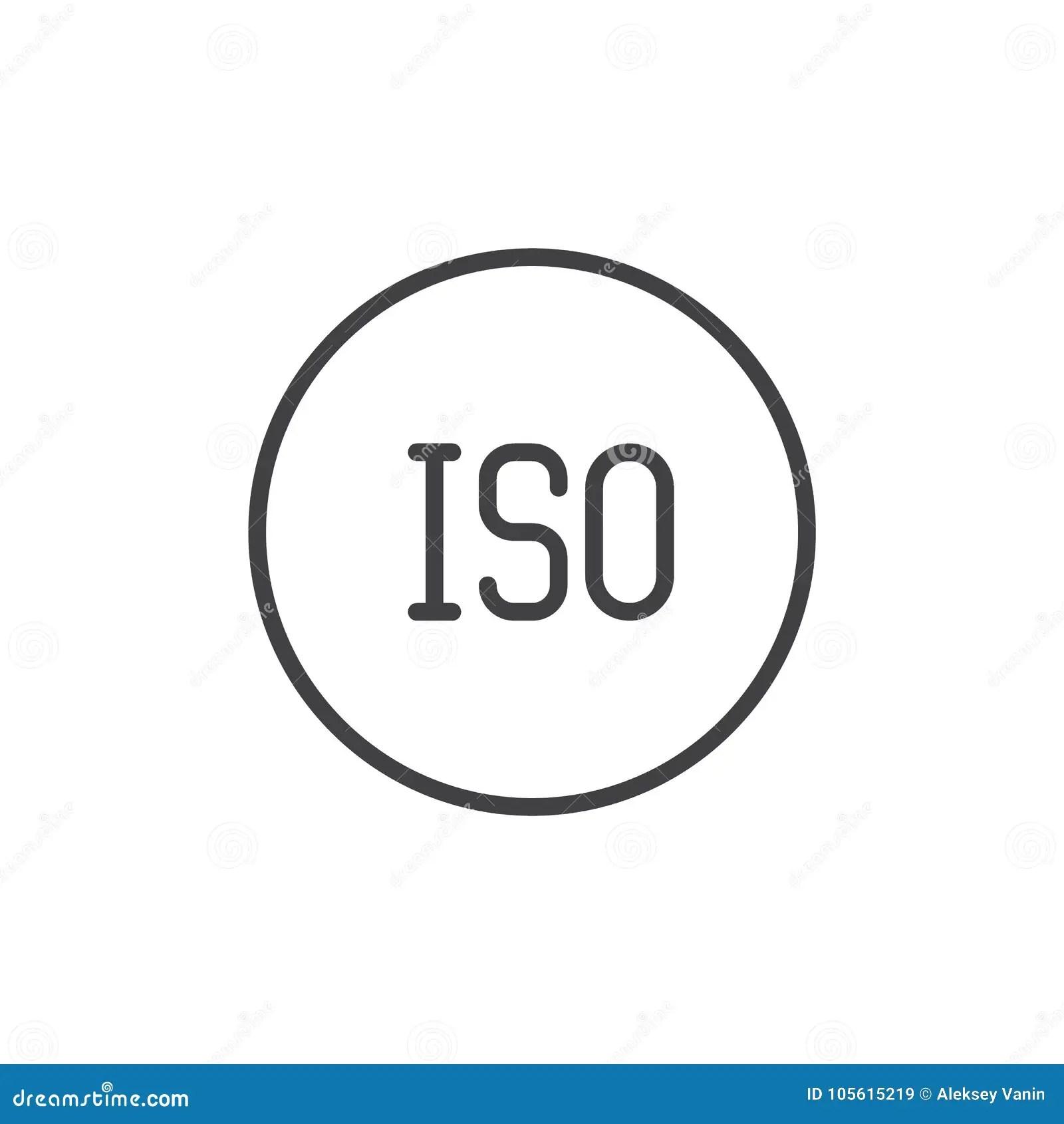 ISO Photo Camera Mode Line Icon Stock Vector