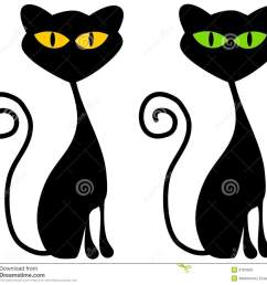 a clip art illustration of 2 black cats with big green and yellow eyes [ 1300 x 1173 Pixel ]