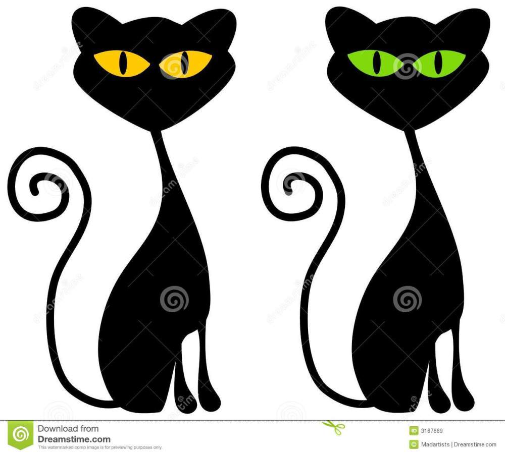medium resolution of a clip art illustration of 2 black cats with big green and yellow eyes