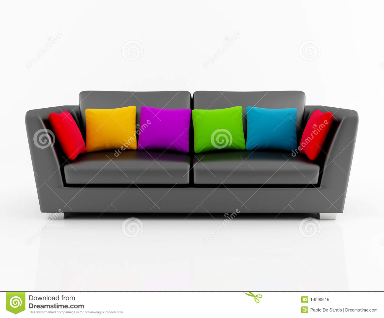 Isolated Black Couch With Colored Pillow Royalty Free Stock Photo