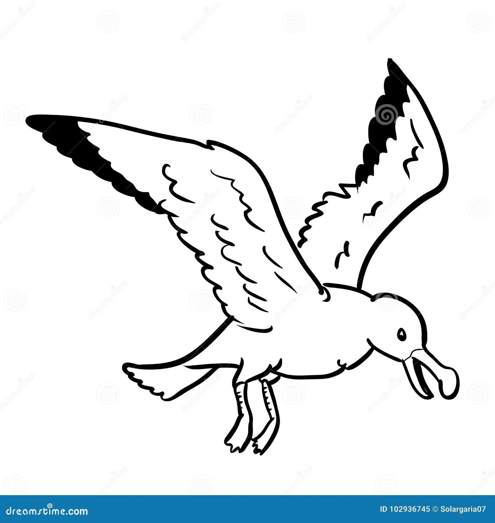 Isolated Gull Cartoon Vector Hand Drawn Illustration Stock