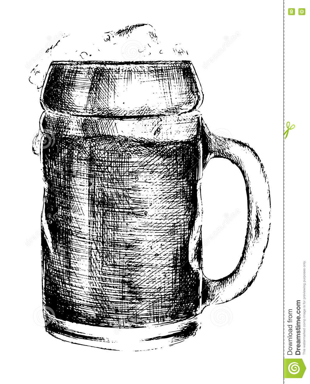 Isolated Hand Drawn Beer Glass Stock Illustration