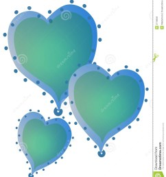3 blue color hearts with gradient colors and decorated with dots around the edges [ 1130 x 1300 Pixel ]