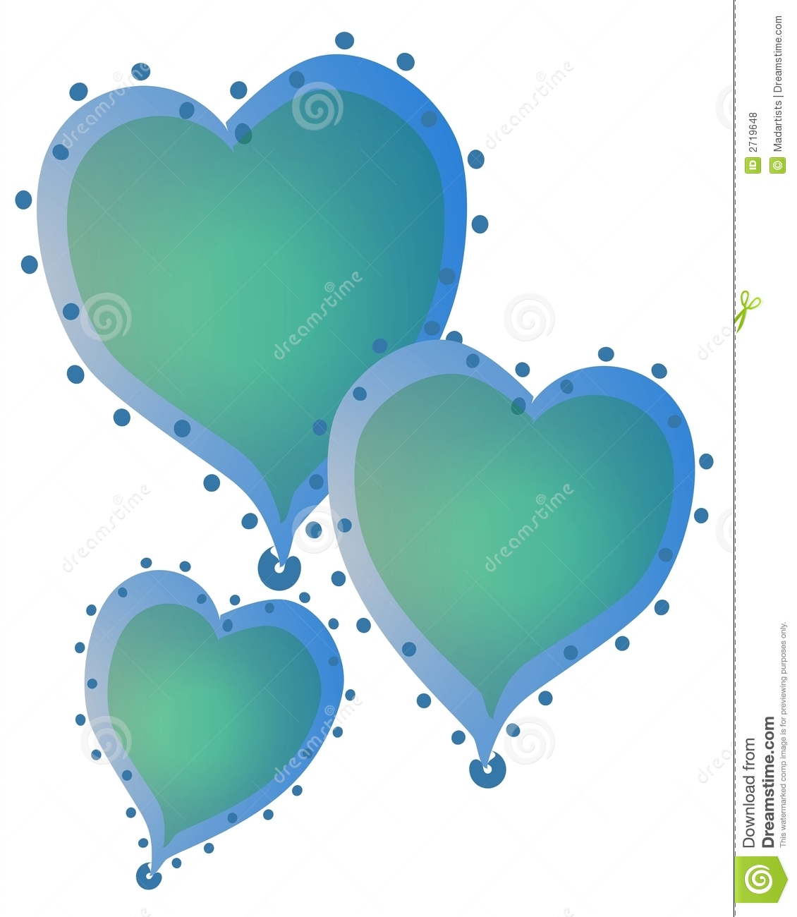 hight resolution of 3 blue color hearts with gradient colors and decorated with dots around the edges
