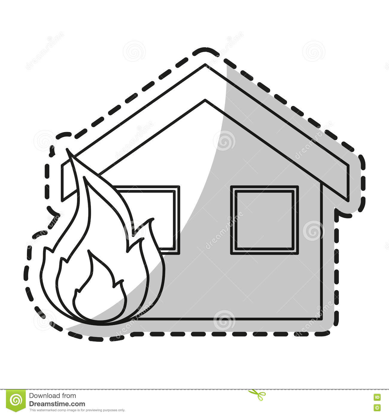 hight resolution of isolated house on fire design