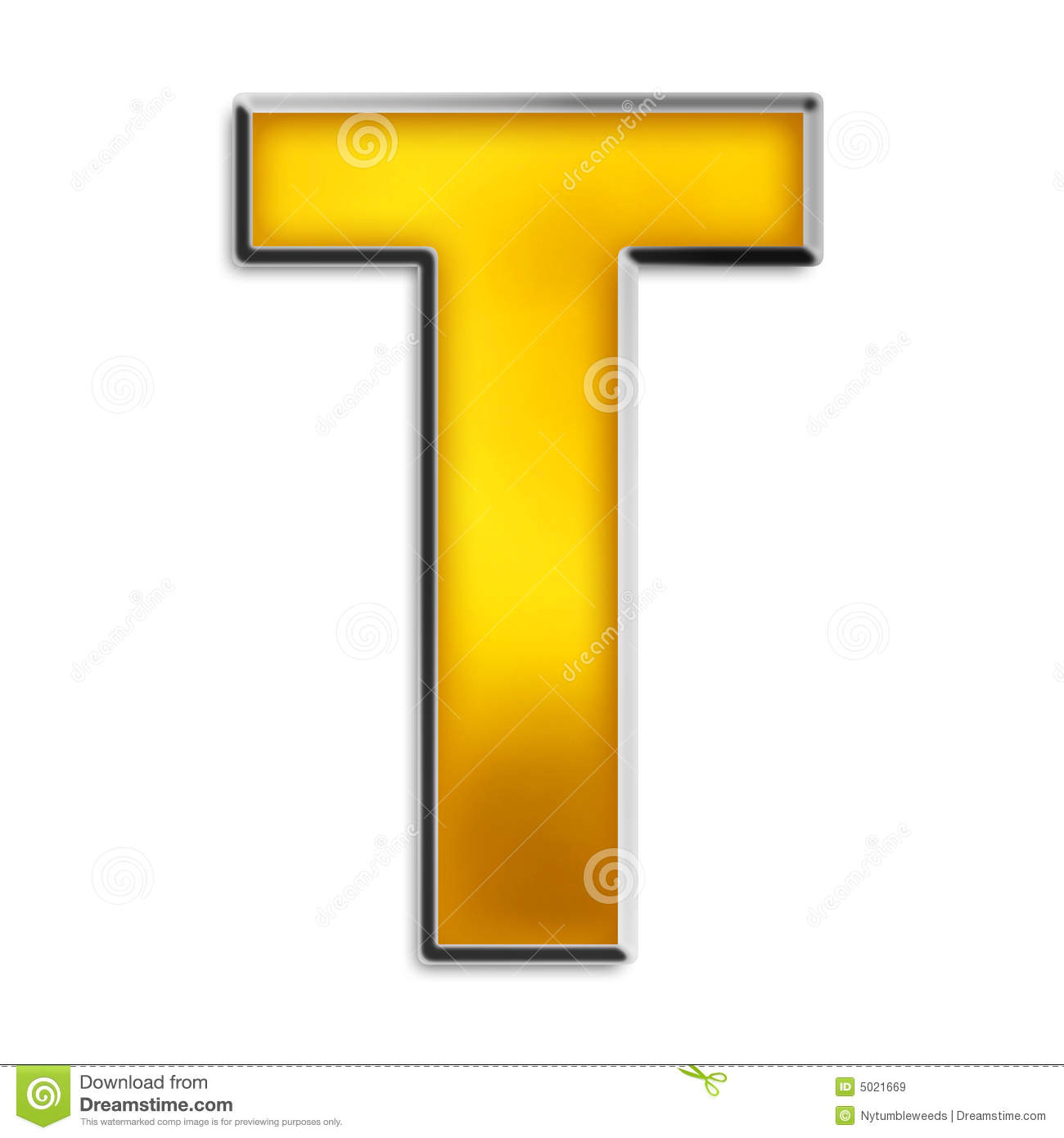 isolated letter t in
