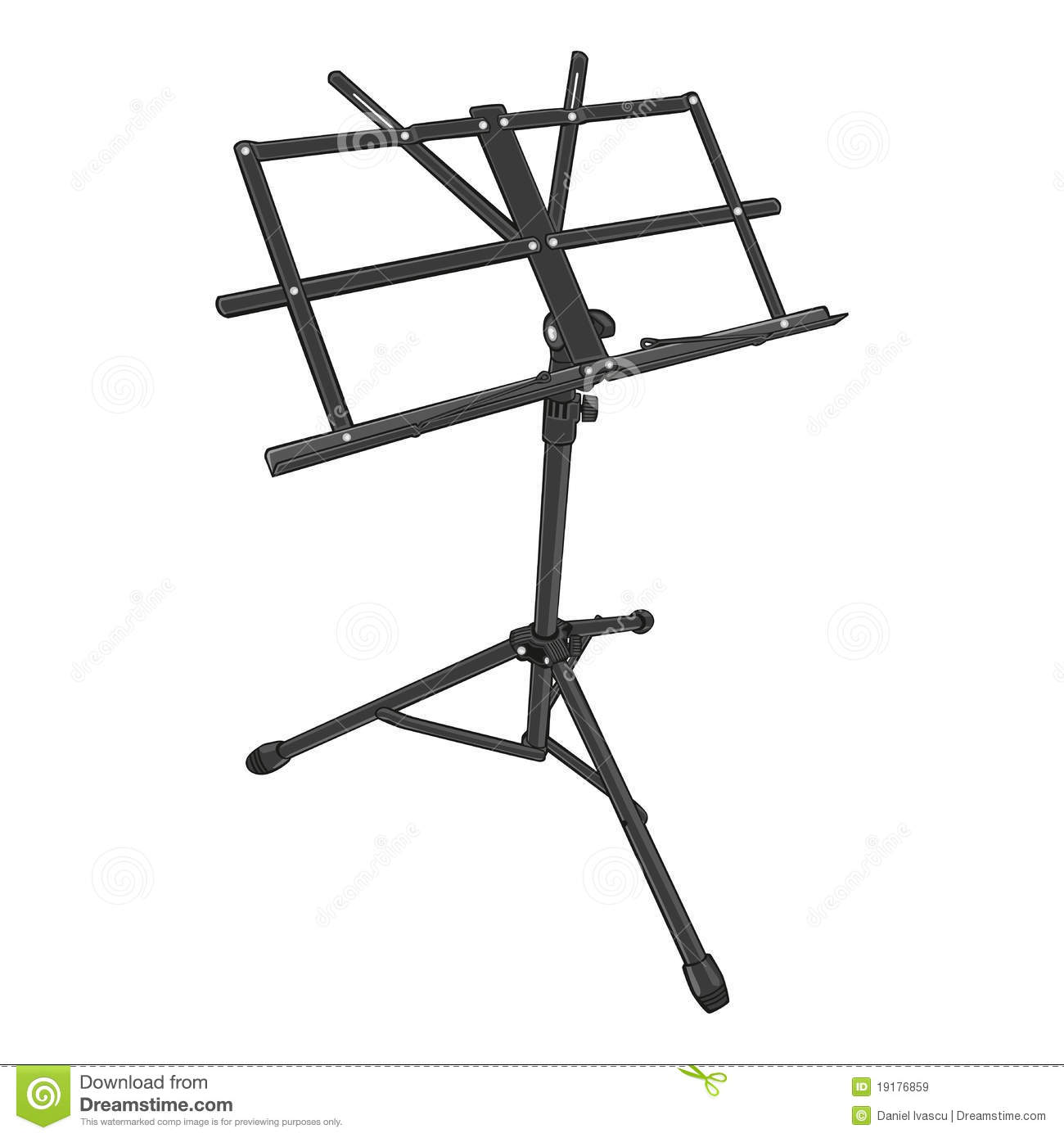 Music Stand With Piano Notes Icon Isolated Cartoon Vector