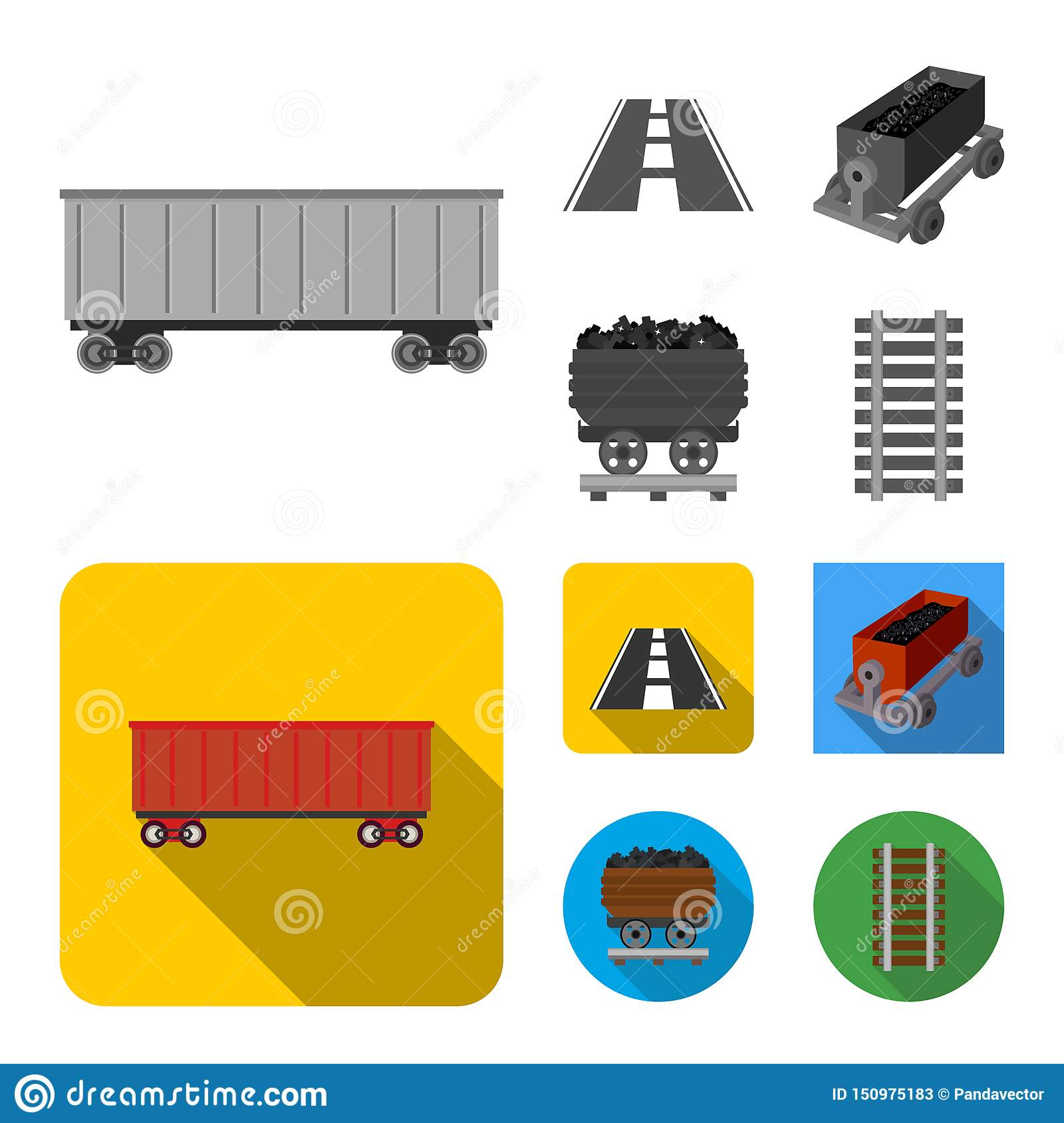 Vector Illustration Of Railroad And Train Icon Collection