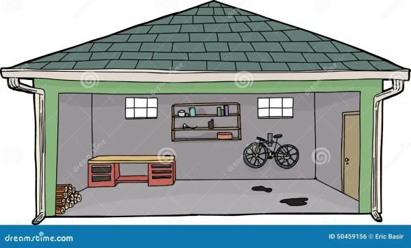 isolated open garage with bike