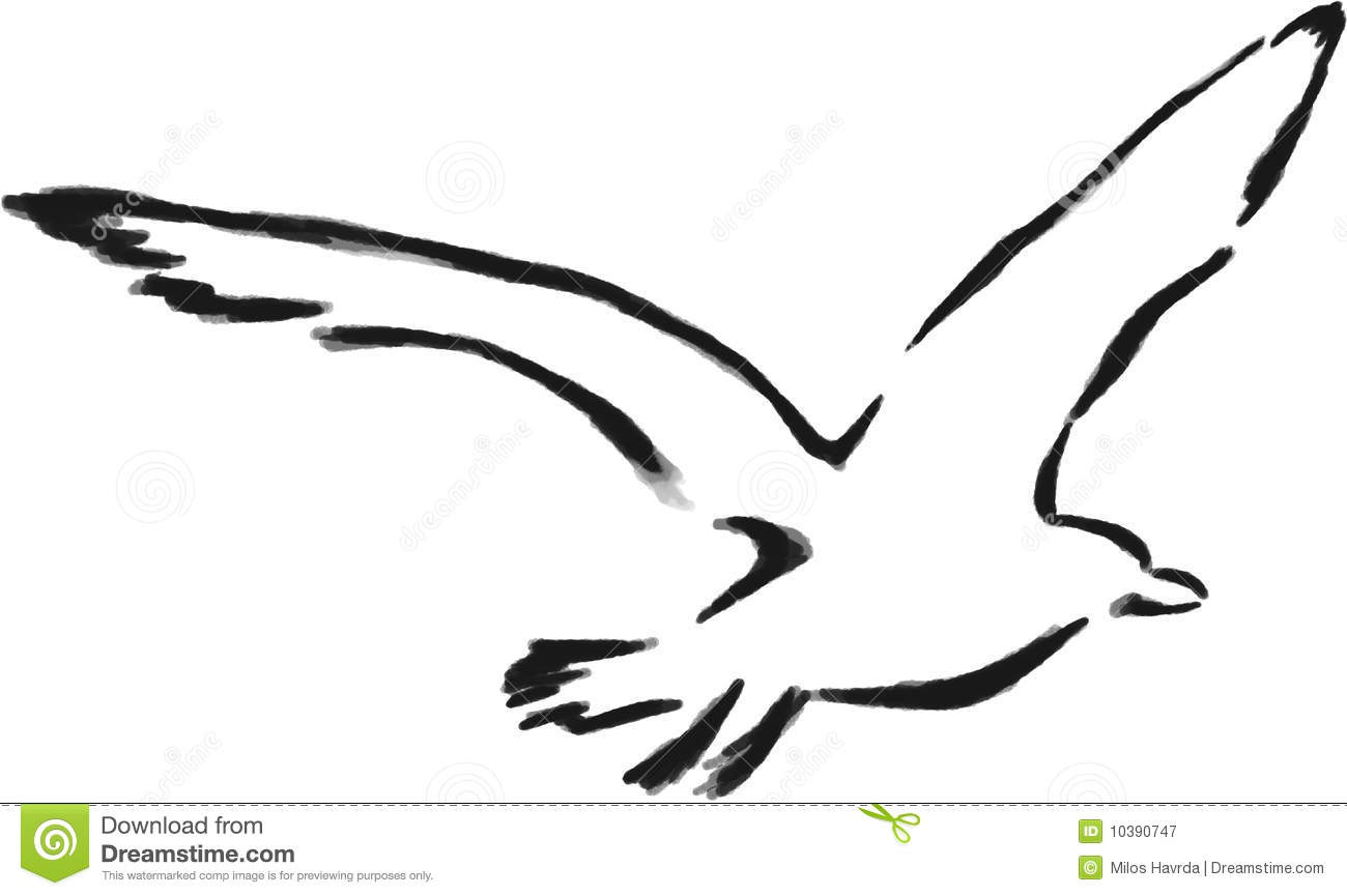 Isolated Outline Seagull Royalty Free Stock Photography