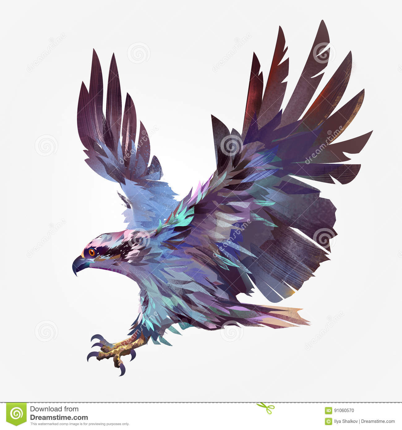 isolated painted flying bird